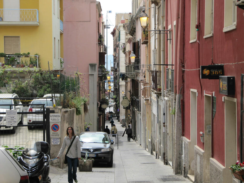 One of the many narrow streets of Cagliari