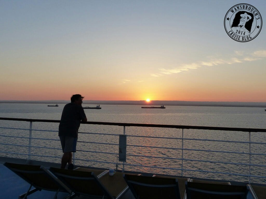 The sun rises as we wait to go into the Suez Canal