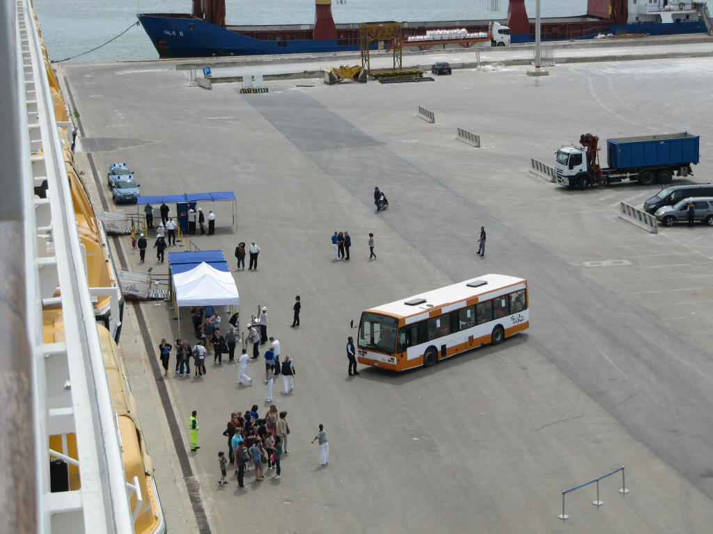 The free shuttle service at the port